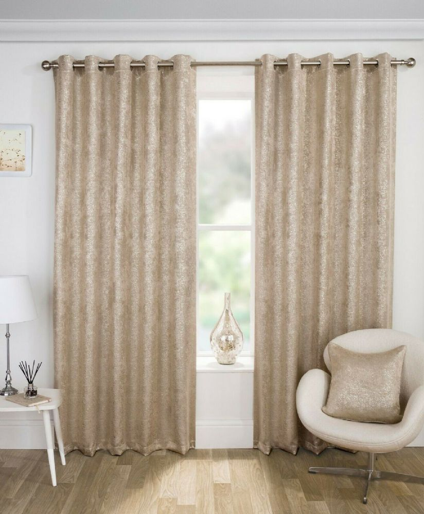 GLAM NEW THERMAL SPARKLE METALLIC BLING LINED BLOCK OUT EYELET RING TOP CURTAINS NATURAL